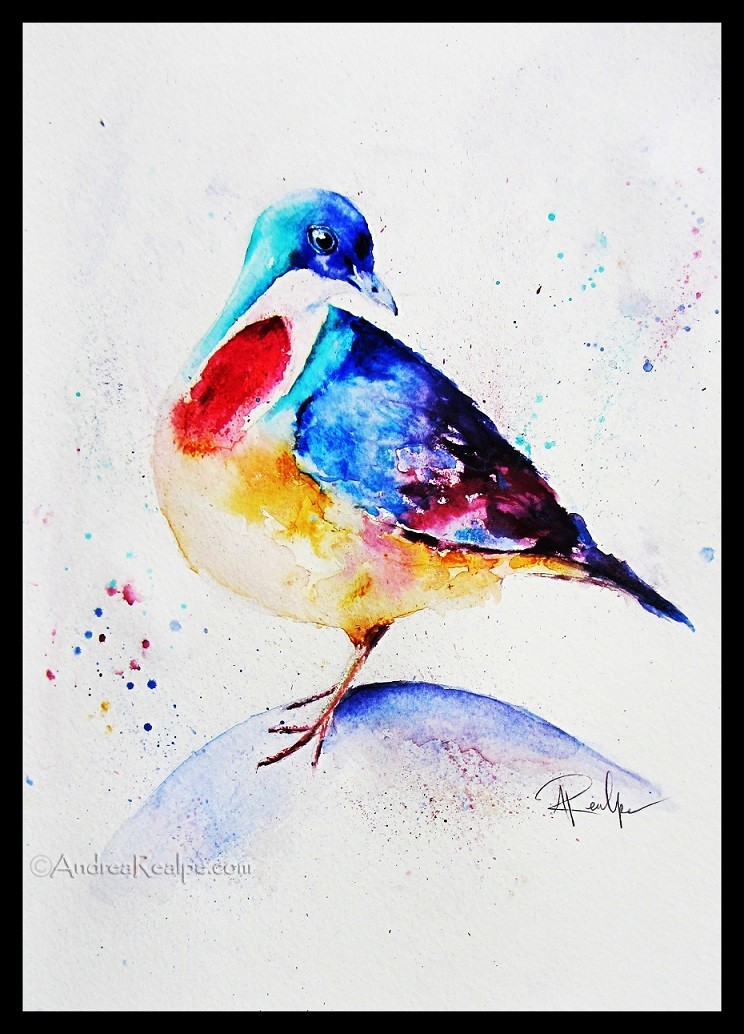 Mindanao Bleeding-Heart Bird Watercolor Painting