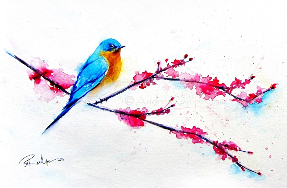 Bluebird sitting on cherry blossom branch watermark