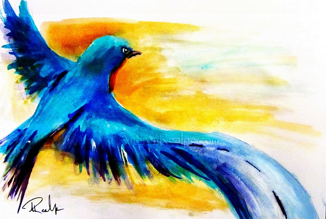 Bluebird Watercolor Painting Angy Paints