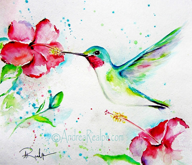 Hummingbird Watercolor Painting Angy Paints