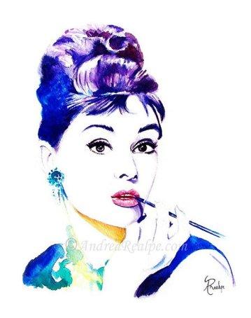 Audrey Hepburn, watercolor painting