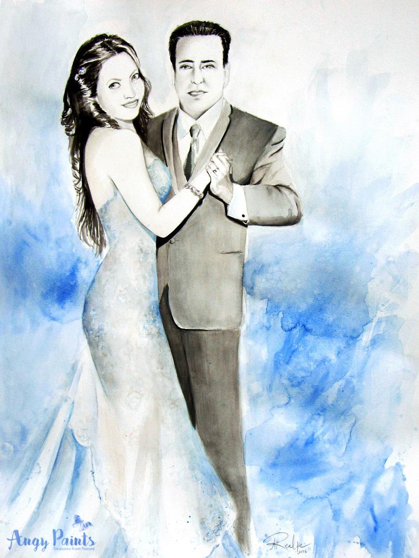 wedding portrait, wedding painting, wedding watercolor painting