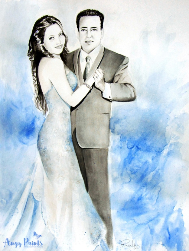 wedding portrait, wedding painting, wedding watercolor painting